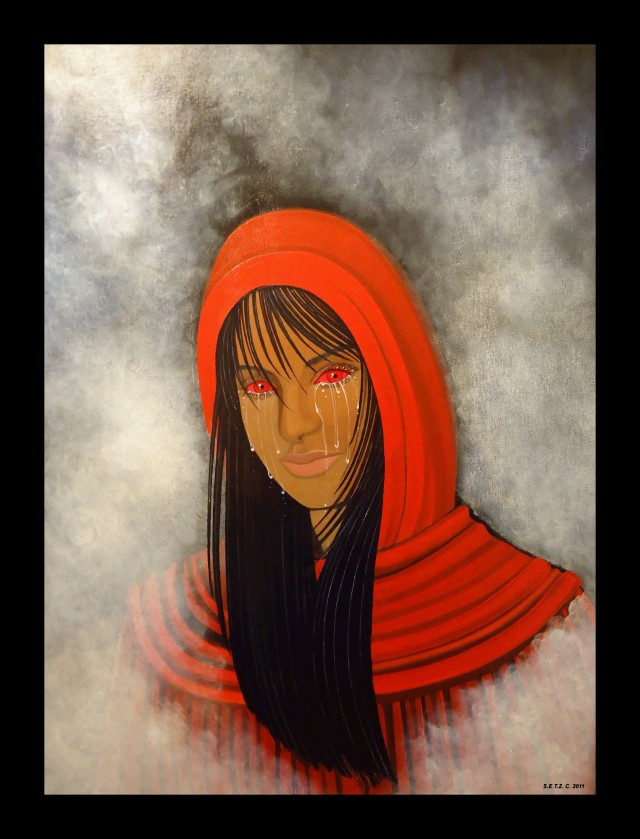 Erzulie Red Eyes, as her own spirit. Original Oil painting on Canvas sheet. Copyright c. 2011