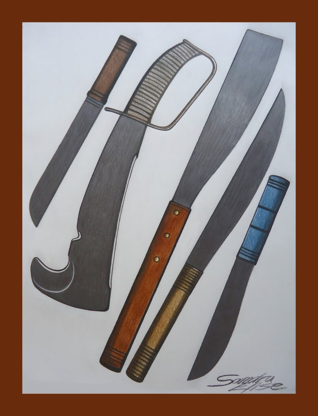 Machetes and different blade styles for Ogoun Red Eyes. Colour pencil on drawing paper. Copyright c. 2012