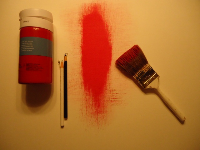Red Gesso and Lithographic Crayons.