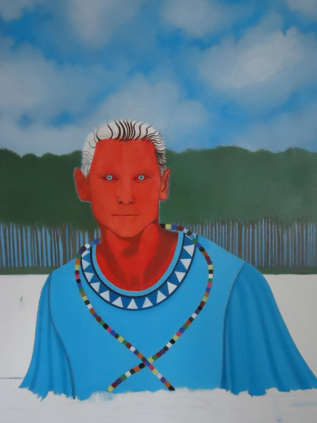 Haitian Vodou Spirit of the water, Agwe Red Eyes. Oil color on canvas detail.