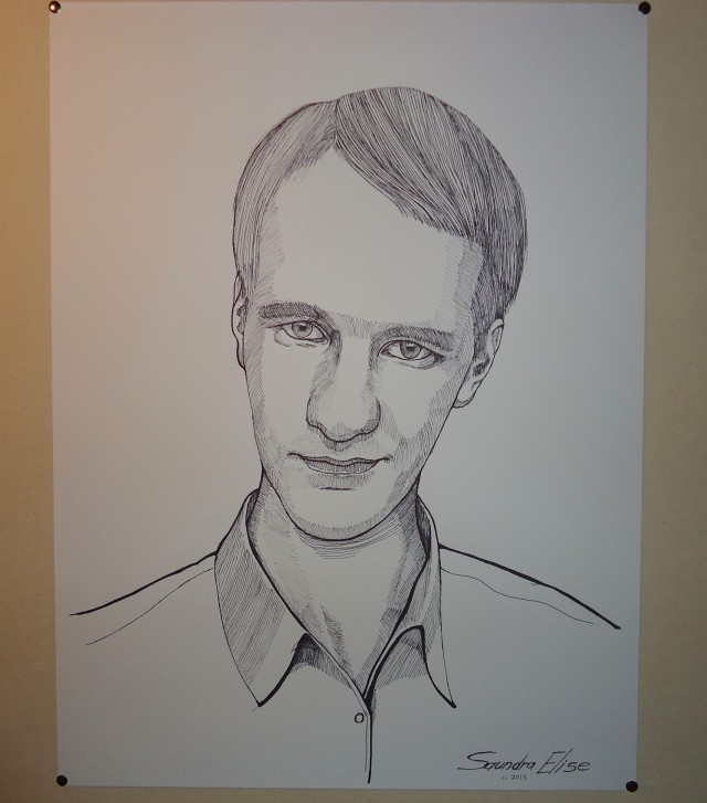 Portrait sketch for Bokor Marco Bergmann of Societe Le Vie. Pen on drawing paper. 18x24in. Copyright c. 2013