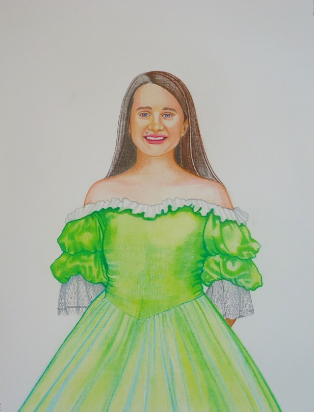 Haitian Vodou lwa Miss Charlotte in a Chartreuse Green Gown. Oil color pencil on Acrylic linen paper. 18x24in. Copyright c. 2013